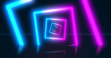 Abstract neon flying geometric tunnel with fluorescent ultraviolet light. background. Virtual reality design 3d render. 写真素材