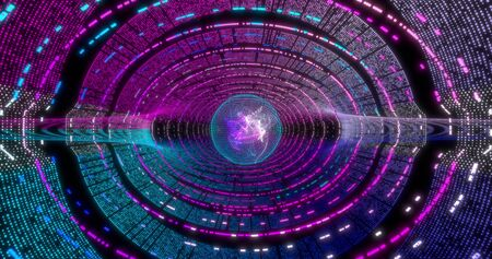 Neon Circle background with data tunnel. Fluorescent abstract blue, purple spectrum color. Ultraviolet lights. Virtual reality future design 3d render. Technology design. Stock fotó