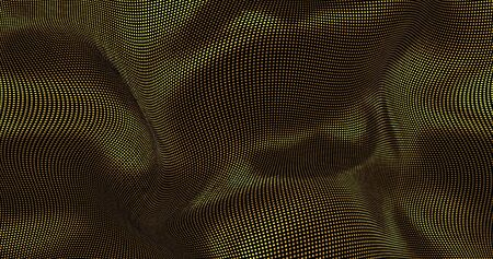 Gold sparkly silk background. Glamour satin texture 3D rendering. Magical Happy new year animation.