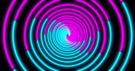 Neon Circle background with LED tunnel. Fluorescent abstract blue, purple spectrum color. Ultraviolet lights . Virtual reality future design 3d render. 3D illustration