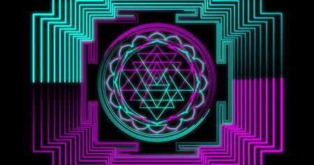 Abstract neon flying geometric tunnel with Sri Yantra Mandala Different Colors fluorescent ultraviolet LED. Futuristic corridor with Neon Lights. Virtual reality design 3d render. Beautiful mandala pattern for Diwali 3D illustration Stock fotó