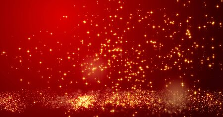 Golden confetti bokeh lights on the red Chinese New year texture.