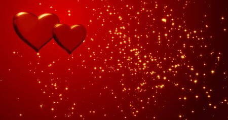 Red hearts. Happy Valentines day background. Red hearts texture with golden confetti. Happy Valentines day background. Stock fotó