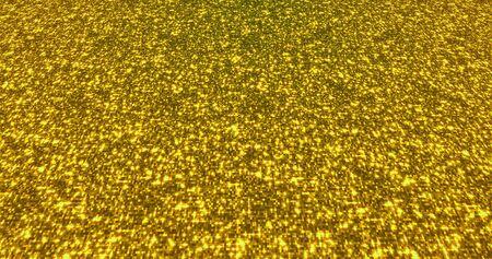 Sfondo di polvere di scintillio dorato per festival, feste, eventi. Animazione di rendering 3D texture oro glam.