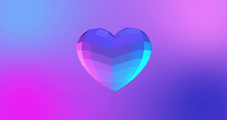 Neon background with glowing ultraviolet heart. For St. Valentines Day event, Mother's Day, anniversary, wedding invitation e-card. 3D rendering
