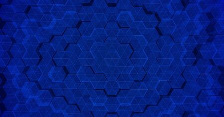 Abstract geometric blue hexagone wall texture. 3D rendering. 3D illustration Stock Photo
