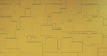 Abstrait géométrique rose fond d'or feuille tuiles texture fond transparent. Surface 3D numérique. illustration 3D