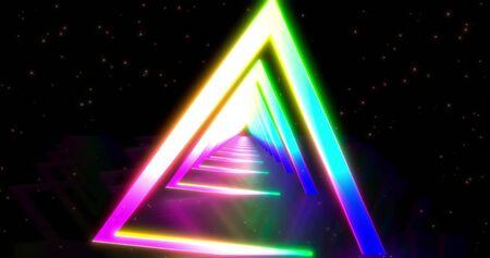 Glowing neon color triangle tunnel. Laser show background. ultraviolet blue purple color spectrum . Virtual reality design 3d render. 3D illustration Foto de archivo