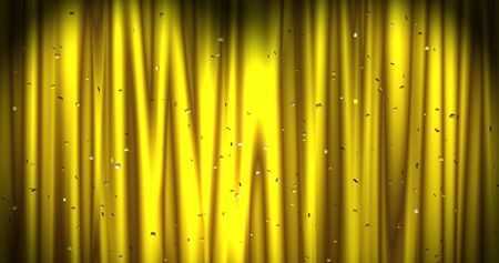 Magical Merry Christmas background with golden stage curtain cloth and color confetti . Luxury walpaper for the day of St. Valentine, New Year, Unniversary celebation and Wedding ceremony. Backdrop for theater, opera, show, stage scenes.