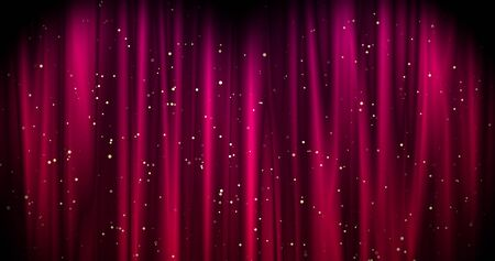 Magical Merry Christmas background with red stage curtain cloth and golden falling stars . Luxury walpaper for the day of St. Valentine, New Year, Unniversary celebation and Wedding ceremony. Backdrop for theater, opera, show, stage scenes. Stock Photo