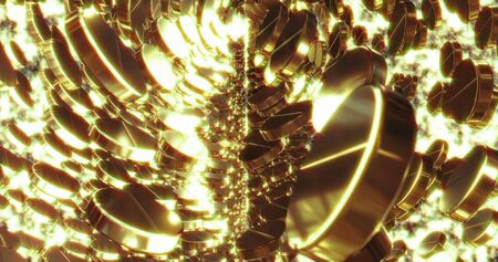 Abstract 3D graphics Background with golden bubbles. Motion graphic, digital texture.