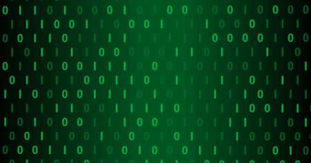 Green Neon Digital binary background. Seamless   background for network, big data, data center, server, internet, digital event. 3D render 3D illustration Banco de Imagens