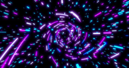 Glowing neon lines tunnel. Blue red pink and violet colorful lighting. Fluorescent ultraviolet lights in the space. Seamless 3D rendering background. Dynamic pattern with power rays and light. Virtual reality design 3d render. 3D illustration