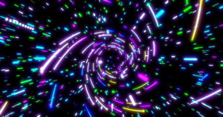 Glowing neon lines tunnel. Blue red pink and violet colorful lighting. Fluorescent ultraviolet lights in the space. Seamless 3D rendering background. Virtual reality design 3d render. 3D illustration Banco de Imagens