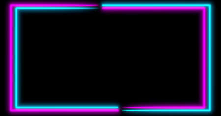 Neon background with LED frame screens. Fluorescent abstract blue, purple spectrum color. Ultraviolet lights . Virtual reality future design 3d render. 3D illustration
