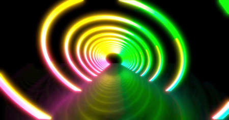Abstract flying in futuristic disco star corridor. background, fluorescent ultraviolet light, colorful laser neon lines, geometric endless tunnel, blue pink spectrum, 3d render 3D illustration