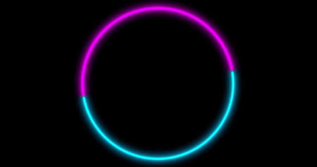 Neon Circle background with LED frame screens. Fluorescent abstract blue, purple spectrum color. Ultraviolet lights. Virtual reality future design 3d render. 3D illustration