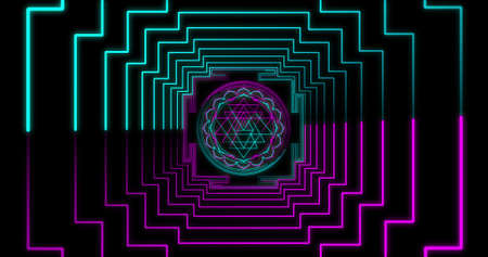 Abstract neon flying geometric tunnel with Sri Yantra Mandala Different Colors fluorescent ultraviolet LED. Futuristic corridor with Neon Lights. Seamless loop 4k background. Virtual reality design 3d render. Beautiful mandala pattern for Diwali 3D illustration Imagens