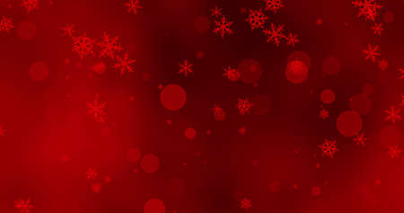 Golden confetti red snowflakes and bokeh lights in ray of light on the red Merry Christmas background. Magical Happy new year texture. 3D rendering 3D illustration Imagens