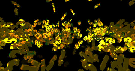 Golden 3d dollar symbols falling on the black background. Party, finance event background. 3D render