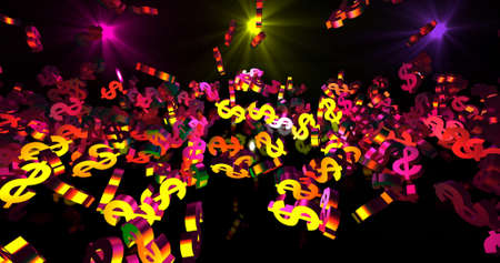 Golden 3d dollar symbols falling on the black background. Party, finance event background. 3D render 3D illustration