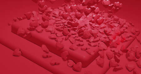 Romantic glamor falling polygonal hearts. Valentines Day. wedding event background. 3D rendering 3D illustration