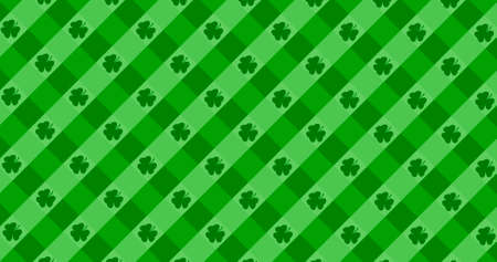 St. Patrick's Day green leaves background. Patrick Day backdrop with falling shamrock leaf pattern. For festive pub party. 3d render 3D illustration Imagens