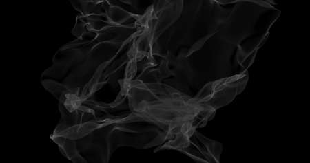 Floating white smoke on black background. Dry ice smoke fog for overlay blending mode. Abstract smoke clouds. Haze backdrop. 3D illustration Imagens