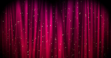 Magical Merry Christmas background with red stage curtain cloth and golden falling stars. Luxury walpaper for the day of St. Valentine, New Year, Unniversary celebation and Wedding ceremony. Backdrop for theater, opera, show, stage scenes.