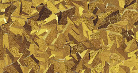 Metallic tile pattern. Golden background. Golden polygonal wall from triangles. Magical Happy new year texture. 3D image