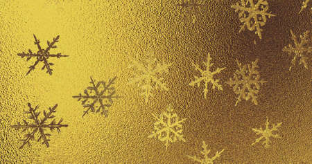 Golden foil with snowflakes texture. New year background. 3D image