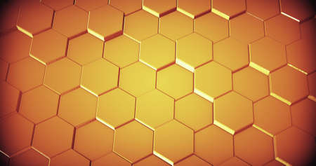 Abstract geometric golden hexagone wall texture. 3D rendering. 3D illustration