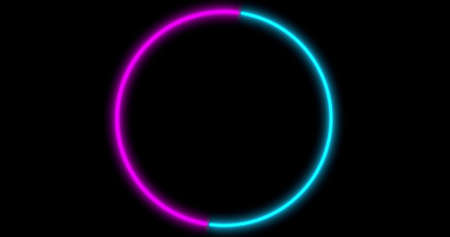 Neon Circle background with LED frame screens. Fluorescent abstract blue, purple spectrum color. Ultraviolet lights . Virtual reality future design 3d render. 3D illustration