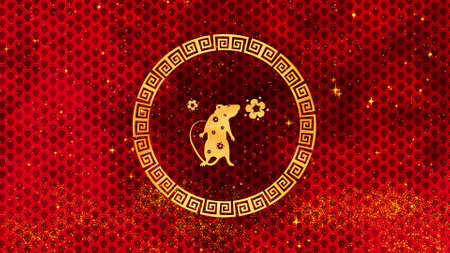 Chinese New Year background with rat, fireworks, glittering stars and flowers. Is Magical Happy new year texture. 3D rendering . Magical Happy new year animation.
