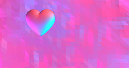 Neon background with glowing ultraviolet heart. For St. Valentines Day event, Mother's Day, anniversary, wedding invitation e-card. 3D rendering 3D illustration Standard-Bild