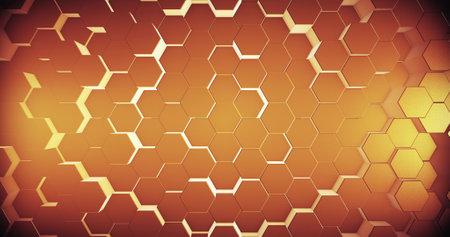 Abstract geometric honey gold hexagone background. 3D rendering. 3D illustration Standard-Bild