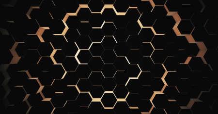 Abstract geometric black hexagone background. 3D rendering. 3D illustration Standard-Bild