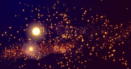 Golden confetti bokeh lights on the black and Navy blue background. 3d illustration
