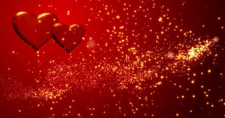 Red hearts. Happy Valentines day background. 3d illustration. Standard-Bild