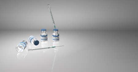 Bottles coronavirus vaccine COVID-19. Glass vials with sars-cov-2 vaccine and syringe on light background 3D illustration