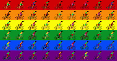 Multicultural group cyclists are riding bicycles lgbt flag background. Cartoon flat design, 3d illustration