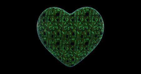 Heart with mounting board and chips. Digital neural network. CPU energy pulsation. 3D rendering, 3D illustration