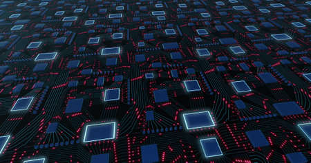 abstract futuristic motherboard schematic with pulsating neon lights. Conceptual sci-fi animation. 3D rendering, 3D illustration