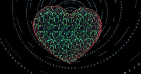 3D heart with mounting board and chips. Digital neural network. CPU energy pulsation. 3D rendering, 3D illustration