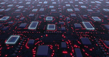 3D concept printed circuit boards with red pulsation of glowing signals. 3D rendering, 3D illustration Imagens