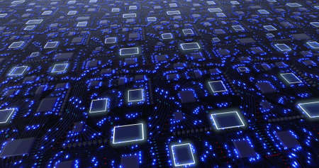 3D concept printed circuit boards with blue pulsation of glowing signals. 3D rendering, 3D illustration