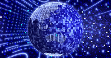 Neon Digital binary background with rotating Planet earth. animation for network, big data, data center, digital event. 3D illustration Imagens