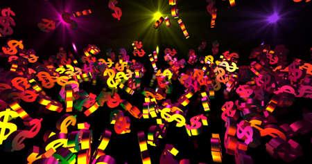 Golden 3d dollar symbols falling on the black background. Party, finance event background. 3D render 3D illustration