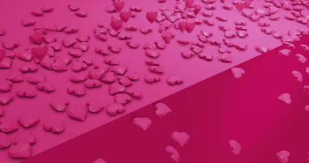 Romantic cute falling polygonal hearts. Valentines Day. wedding event background. 3D rendering 3D illustration Imagens