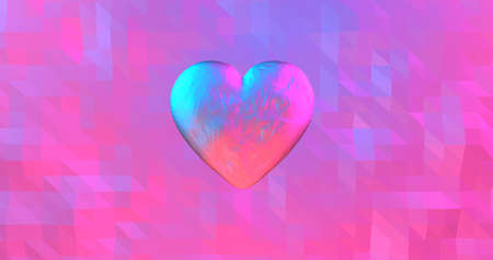 Neon background with glowing ultraviolet heart. For St. Valentines Day event, Mother's Day, anniversary, wedding invitation e-card. 3D rendering 3D illustration Imagens